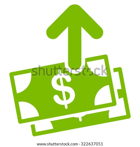 Spend Money glyph icon. Style is flat symbol, eco green color, rounded angles, white background.