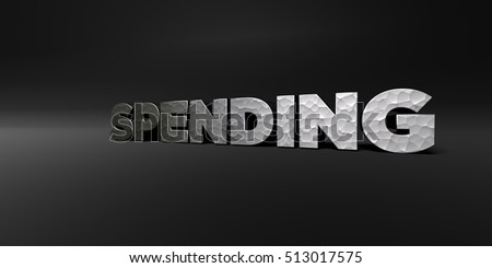 SPENDING - hammered metal finish text on black studio - 3D rendered royalty free stock photo. This image can be used for an online website banner ad or a print postcard.