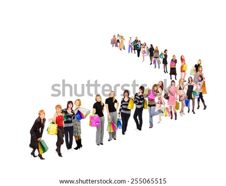 Spending is Fun Women Queue  - stock photo