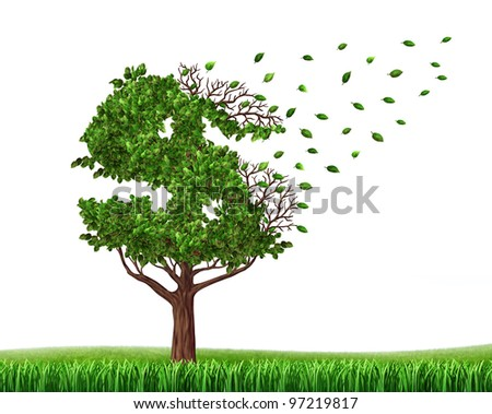 Spending money and savings or losing your investments and managing your debt and financial budget with a green tree in the shape of a dollar sign with leaves falling as an icon of loss and downgrade - stock photo