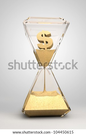 spending money - hourglass, sandglass, sand timer, sand clock with dollar sign - stock photo
