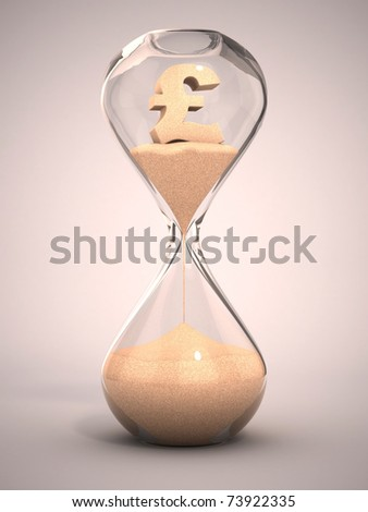 spending money or out of money concept - hourglass, sandglass, sand timer, sand clock with pound sign shaped sand 3d illustration - stock photo