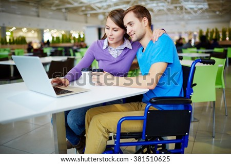 Spending time in cafe - stock photo