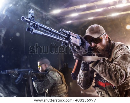 Spesial forces soldier attack the enemy - stock photo