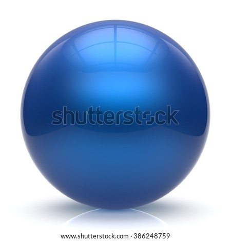 Sphere button ball blue round basic circle geometric shape solid figure simple minimalistic element single shiny glossy sparkling object blank balloon atom icon cyan. 3d render isolated - stock photo