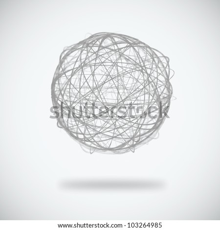 sphere circle line on white background - stock photo