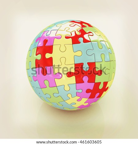 Sphere collected from colorful puzzle on a white background. 3D illustration. Vintage style.
