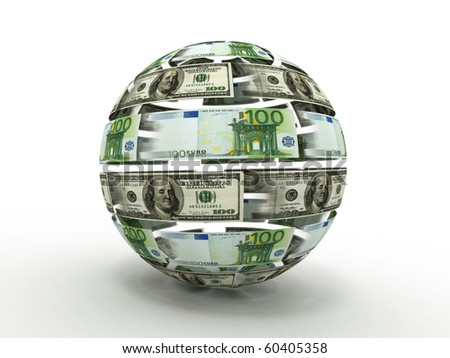 Sphere from dollar and euro. 3d - stock photo