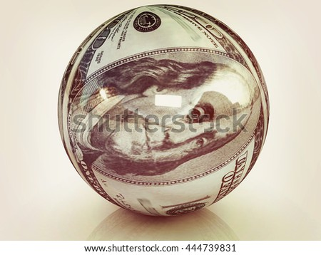 Sphere from  dollar. 3D illustration. Vintage style. - stock photo