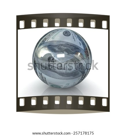 Sphere from  dollar. The film strip - stock photo