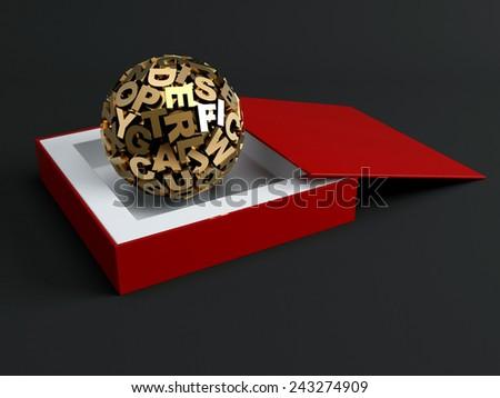 Sphere from golden letters. 3d render illustration - stock photo