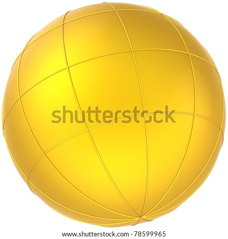 Sphere golden globe planet blank with meridians. Earth symbol abstract. This is a detailed CG image 3D render. Isolated on white background. - stock photo