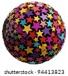 Sphere made of color stars isolated on white background. 3d illustration. - stock photo