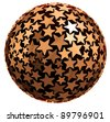 Sphere made of stars isolated on white background, 3d. - stock photo