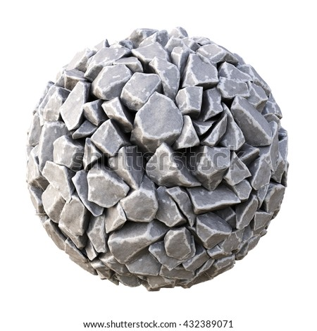 sphere made of stones. isolated on white background. 3D illustration. - stock photo