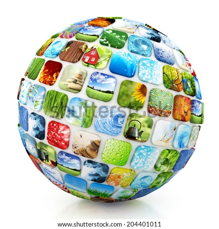 Sphere of colorful images - stock photo