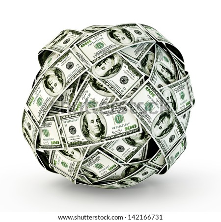 sphere of money isolated on a  white  background