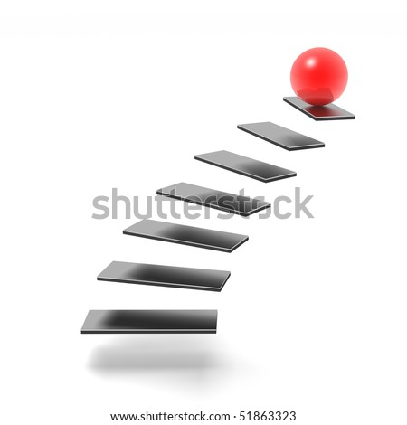 sphere on top of ladder of success (red and black series) - stock photo