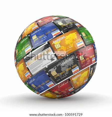 Sphere or globe from credit cards. 3d - stock photo