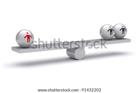 Sphere person in the swing. 3d rendered illustration - stock photo
