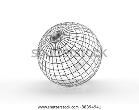 Sphere. Thin wireframe. Conception of globe - stock photo