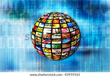 sphere with many images on a technology background