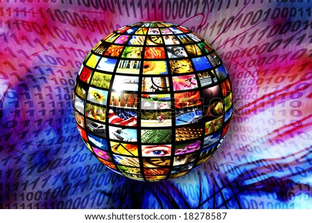 sphere with many screens and binary background as concept for digital and internet tv