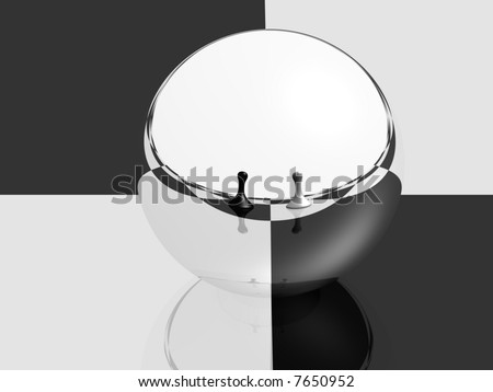 sphere with mirror surface reflecting two pawns on a chess board - stock photo