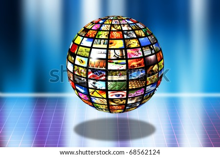 sphere with multiple screens showing images