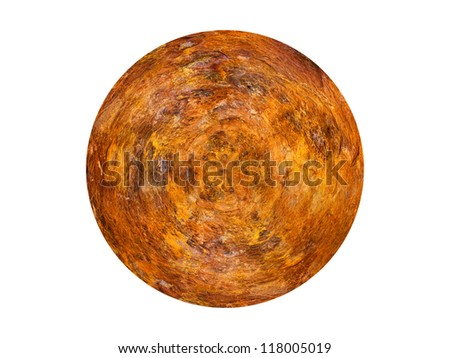 Sphere with rusty iron metal textured surface. - stock photo