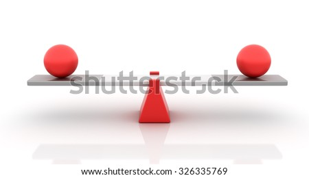 Spheres Balancing on a Seesaw - Balance Concept - High Quality 3D Render  - stock photo