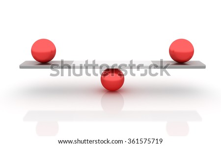 Spheres Balancing on a Seesaw - Balance Concept - High Quality 3D Render