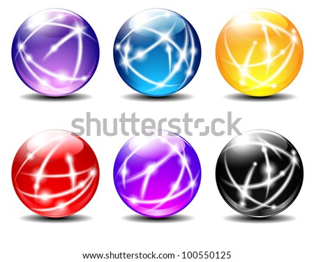 Spheres, Balls illustration with Communication lines - Raster Version - stock photo