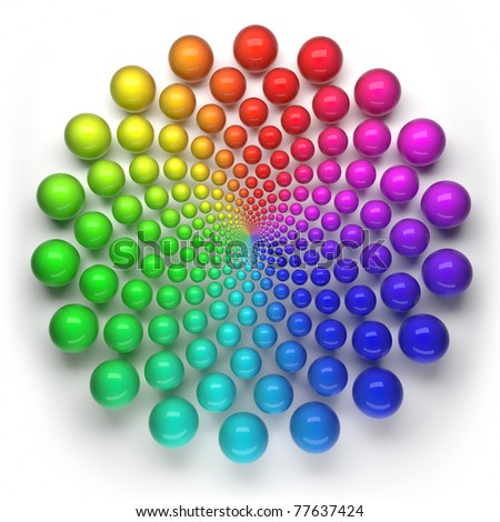 spheres circular spectrum pattern - stock photo