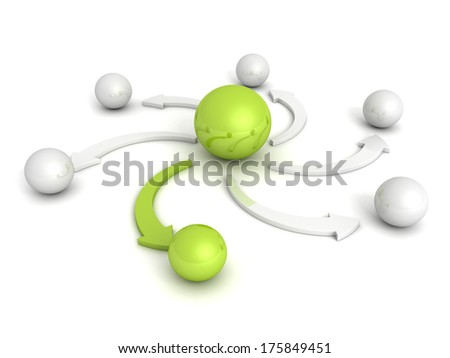 spheres with green leader and arrow - stock photo