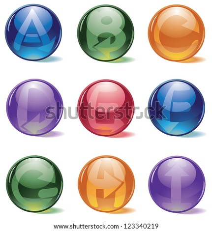 Spherical Alphabet Globe Icon Symbol Collection Letters A through I - stock photo