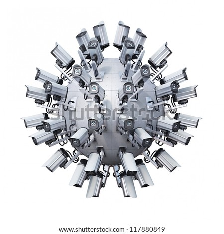 spherical arranged security cameras on a concrete wall - stock photo