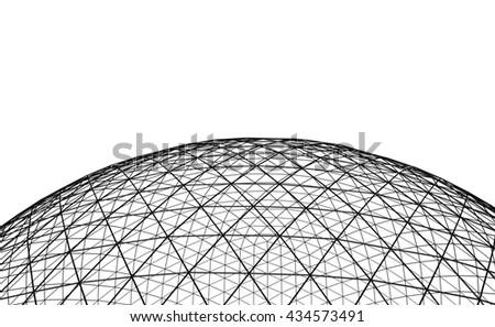 Spherical black grid on white background - stock photo
