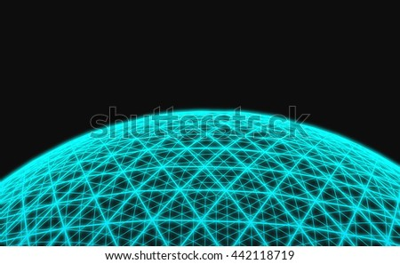 Spherical blue grid on black background