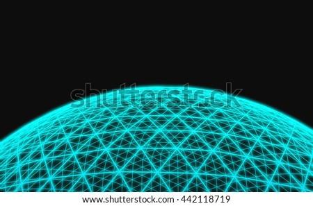 Spherical blue grid on black background  - stock photo