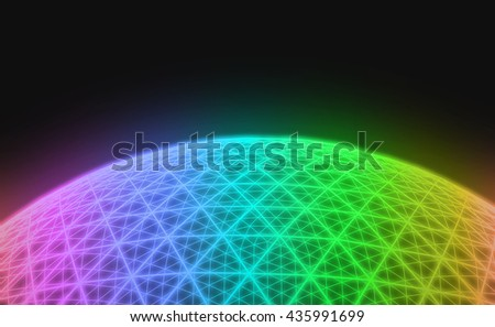 Spherical colorful grid on black background