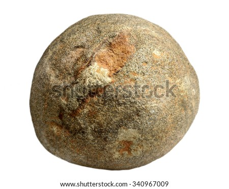 Spherical concretion of sandstone it is isolated on a white background