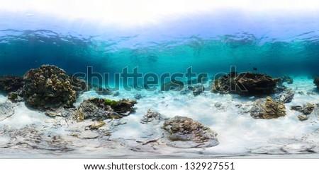Spherical, 360 degrees panorama of tropical reef with a rocks on sandy bottom, Racha Yai island, Phuket - stock photo