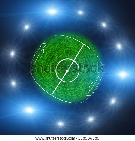 Spherical panorama of a soccer field with light - stock photo
