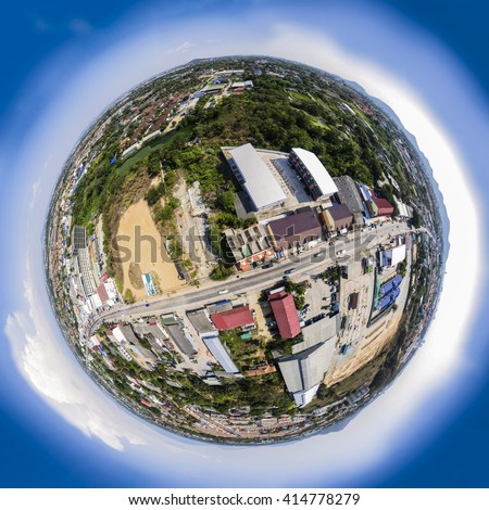 Spherical panoramic view of a suburb area. Synthetic photo, tiny planet.