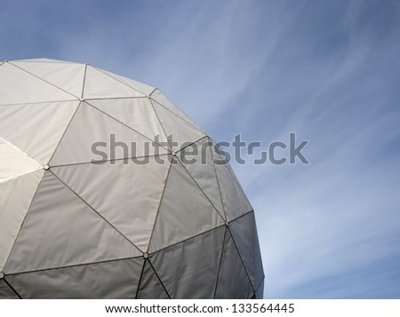 Spherical radome covering an antenna - stock photo