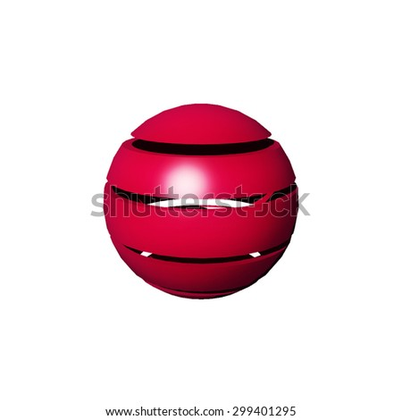 spherical solid sectioned and colored on white background