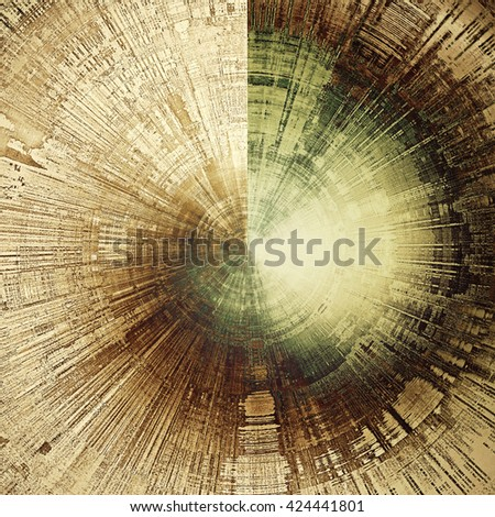 Spherical vintage style shabby texture or background with classy grungy elements and different color patterns: brown; green; black; yellow (beige); gray - stock photo