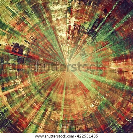 Spherical vintage textured background with copy space. Old style backdrop with different color patterns: yellow (beige); brown; green; red (orange); pink - stock photo