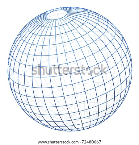 Spherical wireframe cage isolated (modelled with square bevelled wire) - stock photo